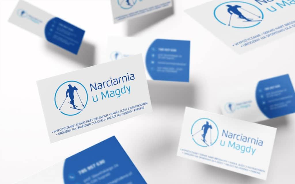 zaprojektowana wizytowka logo Narciarnia u Magdy
